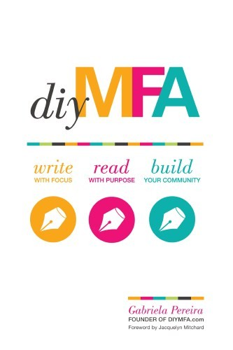 "Cover of diy MFA which features the title in colorful font and ""write read build"" along with several fountain pen nibs"